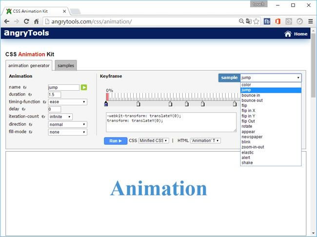 angryTools CSS Animation Kit 純 CSS 語法動態特效產生器