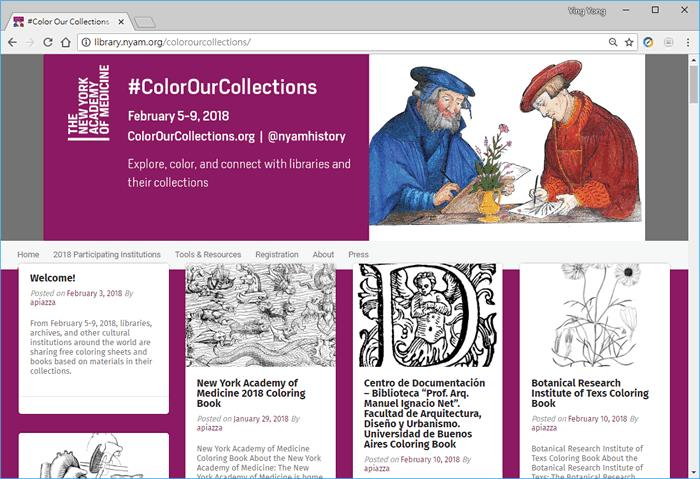 #Color Our Collections  免費下載全球圖書館所館藏的 PDF 著色書